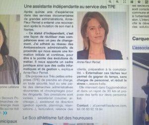 Revue de presse : Anne Fleur Pernet dans Ouest France